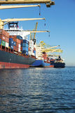 Containerschiffe angekoppelt Lizenzfreie Stockbilder