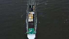 Containerschip in de uitvoer en de invoer Internationale verschepende lading stock footage