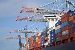 Containerschip en kranen Stock Foto
