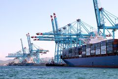 Containerschip Maersk die Sarat met containerskranen werken Stock Foto