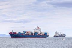 Containerschip Tauranga Nieuw Zeeland Stock Foto's