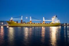 Containership in the Amsterdam Coenhaven Stock Photo