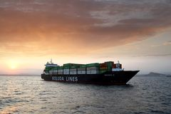 Containership Veronica B during the sunset. Royalty Free Stock Photography