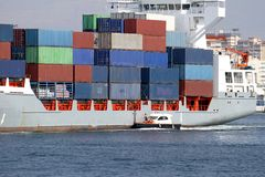 Containership. Container ship sailing in Alicante waters Royalty Free Stock Photography