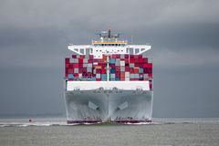 Containership. Entering the port of antwerp Stock Image