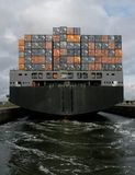 Containership leaving. From IJmuiden in the Netherlands Stock Photography