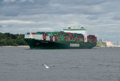 Containership in port Stock Photo