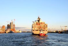 Containership in sunset Royalty Free Stock Photography