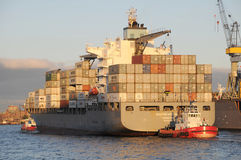 Containership in sunset Royalty Free Stock Photo