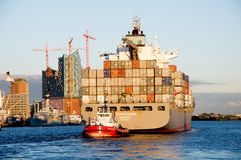 Containership in sunset Stock Image