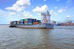 Containership on the Yangon river near Yangon Myanmar Stock Photos