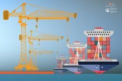 Containersschip, kraan op grote hoogte Royalty-vrije Stock Afbeeldingen