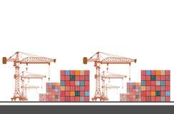 Containersschip, kraan op grote hoogte Stock Foto's