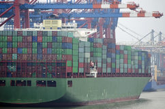 Containerterminal a Amburgo Fotografia Stock