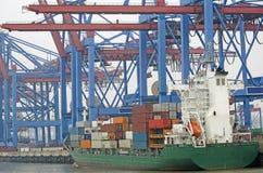 Containerterminal a Amburgo Fotografia Stock Libera da Diritti
