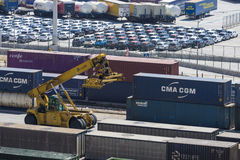 Containerterminal in Barcelona Stock Afbeeldingen