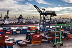 Containerterminal in de zeehaven van Casablanca, Marokko Stock Fotografie