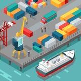 Containerterminal Het Schip van de platformlevering Vector Royalty-vrije Stock Afbeelding