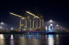 Containerterninal at night. Containerterminal at night in the netherlands stock images