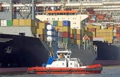Containervessel in de haven van Hamburg Royalty-vrije Stock Afbeeldingen