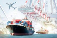 Containervrachtschip en vrachtvliegtuig voor logistische invoer-uitvoerachtergrond royalty-vrije stock foto