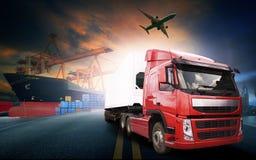 Containervrachtwagen, schip in haven en vrachtvrachtvliegtuig in transpo