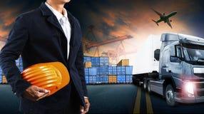Containervrachtwagen, schip in haven en vrachtvrachtvliegtuig in transpo Stock Fotografie