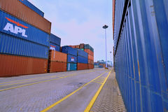 Containerwerf in Xiamen, China Royalty-vrije Stock Foto's