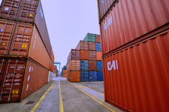 Containerwerf, Xiamen, Fujian, China Stock Foto's