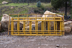 Containment fences. For public scenarios stock images