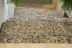 Containment of stones. Metal net containing a stone wall royalty free stock photography