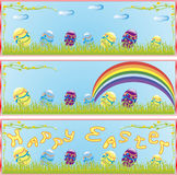 Contains the image of the Easter banner with flowers and eggs Stock Photography