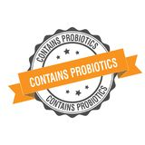 Contains probiotics stamp illustration Stock Images