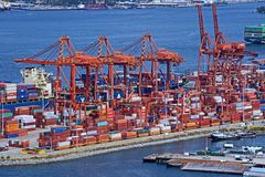 Containter port. VANCOUVER is the busiest port for importing goods from Asia in containers and shipping them across the continent by rail royalty free stock photo
