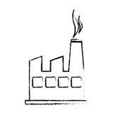 Contaminação borrada esboço da fábrica e do fumo da silhueta ilustração do vetor