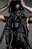 Contaminação, desastre nuclear, homem com máscara de gás, proteção fotografia de stock royalty free