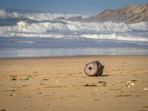 Contaminación ambiental Contaminación de la playa Una barra vieja, corroída fotografía de archivo libre de regalías