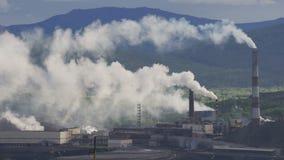 Contaminación atmosférica de plantas industriales almacen de video