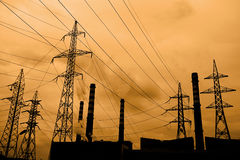Contaminación atmosférica industrial Imagen de archivo libre de regalías