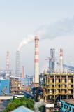 Contaminación china del humo de la acería Imagenes de archivo