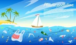 Contaminación del océano Botella y bolsos plásticos, desperdicios, basura, basura del hogar en el agua Problema ambiental stock de ilustración