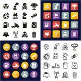 Contaminación toda en los iconos uno negros y el diseño plano del color blanco fijado a pulso Foto de archivo libre de regalías