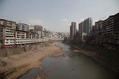 Contaminación y urbanización en China Imagen de archivo libre de regalías