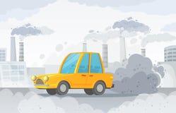 Contaminaci?n atmosf?rica del coche La niebla con humo del camino de ciudad, fábricas fuma y ejemplo industrial del vector de las stock de ilustración