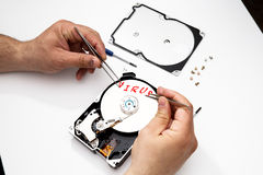 Contaminated disk with virus Royalty Free Stock Photo