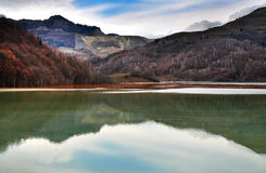 Contaminated lake near an open cast copper mine. Geamana Stock Photography