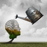 Contaminated Water Concept. And environmental problem symbol as a toxic watering can pouring poison on an injured tree that is shaped as a human head as an Stock Photos