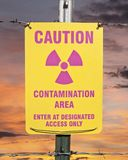 Contamination Area Warning Sign with Sunrise Stock Photography