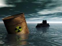 Contamination en mer Images libres de droits