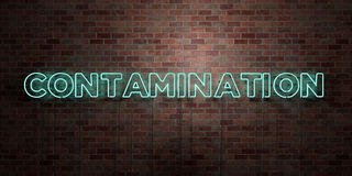 CONTAMINATION - fluorescent Neon tube Sign on brickwork - Front view - 3D rendered royalty free stock picture. Can be used for online banner ads and direct Royalty Free Stock Photo